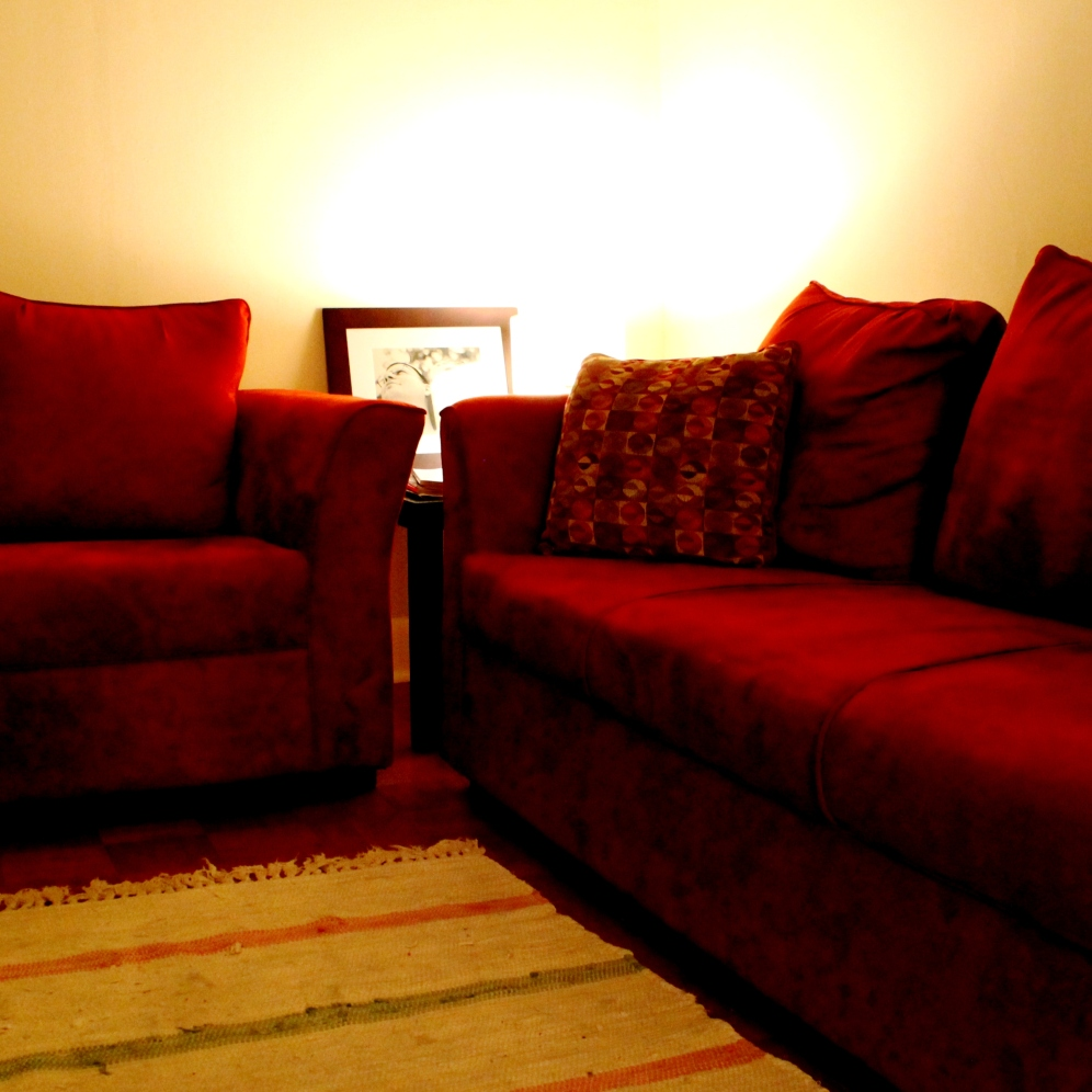 The old red couches.
